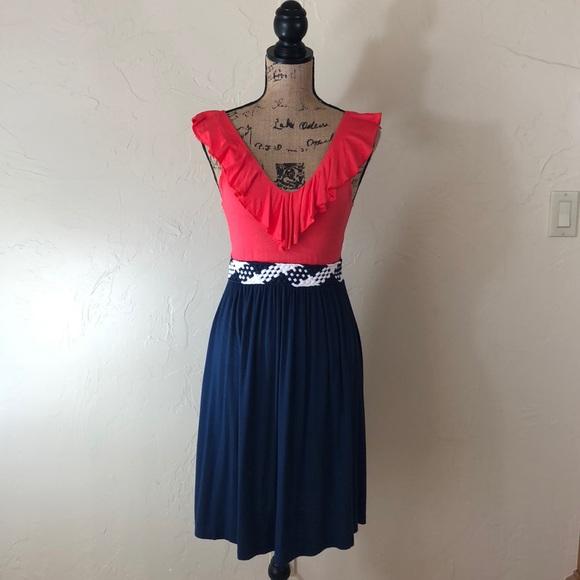 1896983f441 Coral and Navy Dillard s Dress. M 5ad3e56c5521be784f4a7660